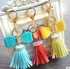 Trendy PU Leather bow dangling Key Chain Bag Purse Charm Ring Crystals Keychain