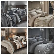 Faye/Alessia Embroidery Luxury Duvet Quilt Cover Set Curtains Bed Throw Cushions