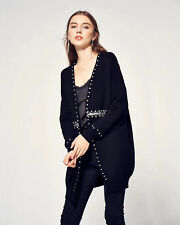 Crystal stone and sequin embellished long cardigan casual drink  in black grey