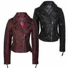 Ladies Real Leather Biker Jacket Soft Womens Slim Fit Retro