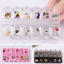 12 Solts 3D Scatola portaoggetti organizzatore NAIL ART TIPS STRASS gemme