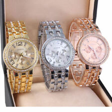 Women Crystal Rhinestone Analog Quartz Stainless Steel Wrist Watches + Gift Box