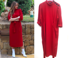 ZARA RED MIDI DRESS WITH SIDE AND BUTTON DETAIL SLITS SIZE  M, L