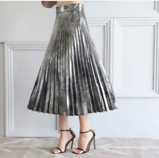 ZARA BLACK SILVER METALLIC PLEATED SKIRT XS, S, L
