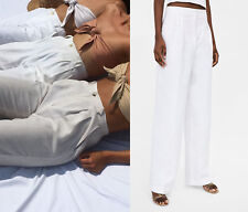 ZARA WHITE LINEN WIDE LEG HIGH WAIST TROUSERS SIZE S