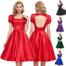 Puff Dress Evening Prom Pinup Sleeve Retro Vintage Tea Party Swing Hollowed 50s