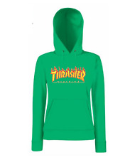 SUDADERA CON CAPUCHA CLASSIC LADY FIT VERDE KELLY THRASHER FRUIT OF THE LOOM.