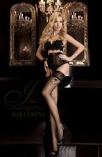 Black stunning Ballerina 261 Hold Up Nero sexy hosiery s/m & l/xl faux Bow