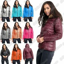 New Ladies Padded Quilted Fur Hooded Wetlook Shiny Zip Up Jacket Thick Warm Coat