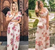 ZARA FLORAL PRINT TOP WIDE LEG PALAZZO TROUSERS JUMPSUIT M  2729 855