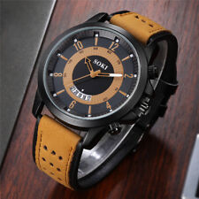 Military Mens Boys Analog Quartz Wrist Watch Leather Band Sport Watches
