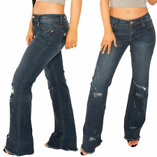New Womens Dark Blue Ripped Distressed Bootcut Flared Jeans with Frayed Leg Ends