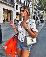 ZARA NEW DIE CUT EMBROIDERED BLOUSE V-NECK OFF WHITE RUFFLED SLEEVES SIZE XS-XL