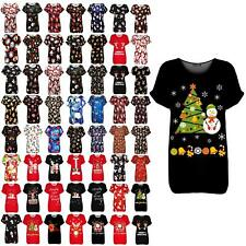 Ladies Womens Christmas Xmas Snowman Tree Candy Oversized Baggy Tee T Shirt Top