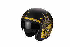 CASCO MOTORRAD JET SCOOTER VINTAGE SCORPION BELFAST DEFENSA NEGRO MATE ORO