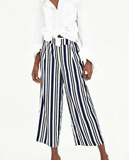 ZARA NEW FLOWING CROPPED TROUSERS WIDE LEG BLUE WHITE STRIPED LOOSE SIZE XS-XXL