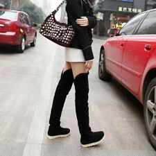 Women Soft Flat Heel Suede High Boots Over Knee Leisure Non Slip Snow Shoes