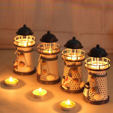 Deco style mediterraneen phare en fer bougie LED Lampe Maison decoration FR