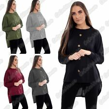 New Ladies Plain Front Button High Low Long Sleeve Baggy Blouse Hilo Batwing Top