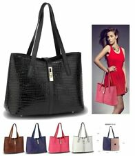 New In Ladies Fashion Latest Design Faux Leather Women's Croc Print Tote Bags