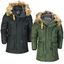 Mens Padded Heavy Weight Warm Winter Jacket Classic Parka Coat Fur Trim Hooded