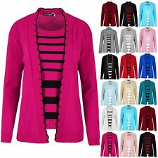 Womens Ladies Long Sleeves Open Front Knit Jumper Sweater Stripes Twin Cardigan
