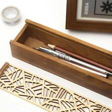 1 pc Vintage Wooden Hollow-carved Stationery  Storage Box Pen Pencil Case