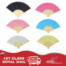 Durable Handheld Fabric Hand Folding Fan Outdoor Dancing Bridals Wedding