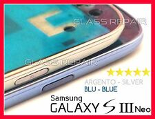 FRAME FRONTALE TELAIO CORNICE CENTRALE ARGENTO  BLU SAMSUNG GALAXY S3 I9301I NEO