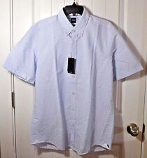 NWT MEN'S HUGO BOSS BLUE SHORT SLEEVE BUTTON UP DOWN SHIRT SZ L