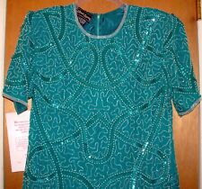 NEW Sequins Dress SZ L 16 18 Teal 1PC Special Occasion Short Sleeve, 100% Silk