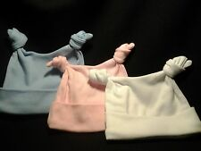 2 knot Baby Hat 100% Super Soft Cotton - Made in the UK