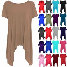 Womens Ladies Dress Dipped Hem Stretchy Cap Sleeve Flare Plain Hanky Hem Top