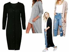 Ladies V Neck Button Cable Knitted Full Length Long Sleeve Maxi Winter Cardigan