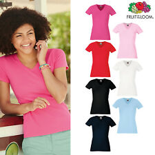Women's V-neck Casual Cotton Tee - Fruit of the Loom Lady-fit fitted T-shirt Top
