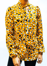 YELLOW PUSSY BOW  WITH LEOPARD PRINT TIE NECK AND SASH BLOUSE  BY  JOHN ZACK