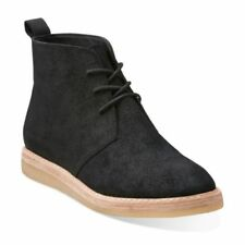 Clarks Desert Boots ladies ankle boots in black suede size 5.5/39 D RRP £110