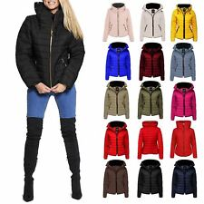 New Ladies Quilted Puffer Bubble Padded Jacket Fur Collar Gold Zip Up Warm Coat