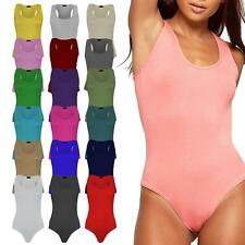 Ladies Racer Muscle Back Sleeveless Stretch Bodysuit Leotard Vest Top 8-14 new