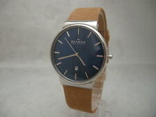 SALE: Authentic Skagen Ancher SKW6103 Genuine Leather Tan Bracelet Men's Watch