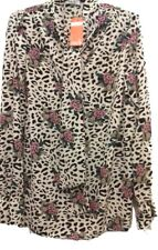 JOHN ZACK FLORAL ANIMAL PRINT PUSSY BOW BLOUSE IN IVORY