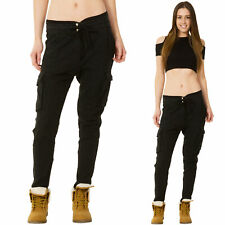 New Womens Black Lightweight Tapered Leg Combat Trousers Linen Mix Cargo Pants