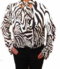JOHN ZACK  ZEBRA PRINT PUSSY BOW  BLOUSE WHITE  AND BLACK STRIPES