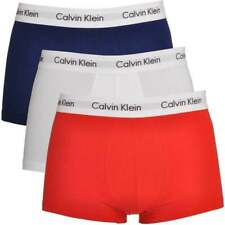 Calvin Klein Mens 100% Authentic CK 3 Pack Low Rise Trunk Boxer White/Red/Navy