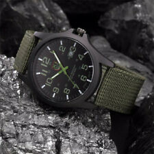 Outdoor Canvas Band Stainless Steel Military Watch Sports Analog Quartz Army