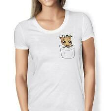 Baby Groot Womens T-shirt Guardians of the Galaxy Pocket Print Ladies Summer Top