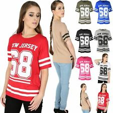 Womens NEW JERSEY 68 Stripes Oversize Varsity Baggy Ladies T Shirt Top Plus Size