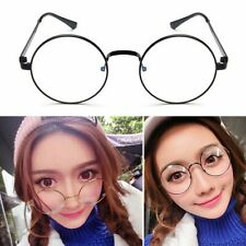 Women Men Oversized Large Metal Frame Clear Lens Round Circle Eye Glasses Unisex