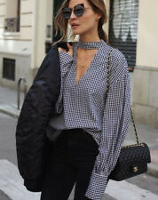 3dce19f7a67 ZARA Gingham Checked Long Sleeve Shirt with Collar Detail Size TOP blouse M  L
