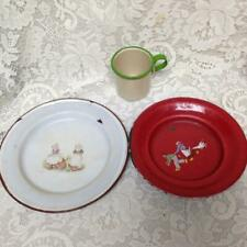 Antique, Bavaria-Austria Childs 3-pc  Enamelware Cup, Bowl and Plate Set